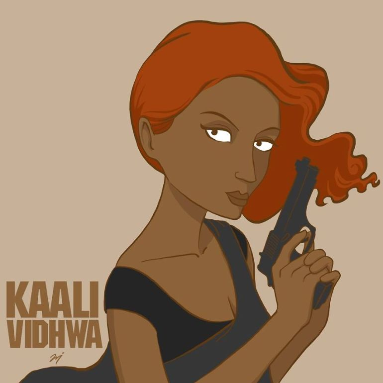 Kaali...as a superhero, with a gun